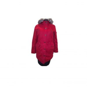 Raudona moteriška ilga pūkinė striukė, ELHO, XL dydis