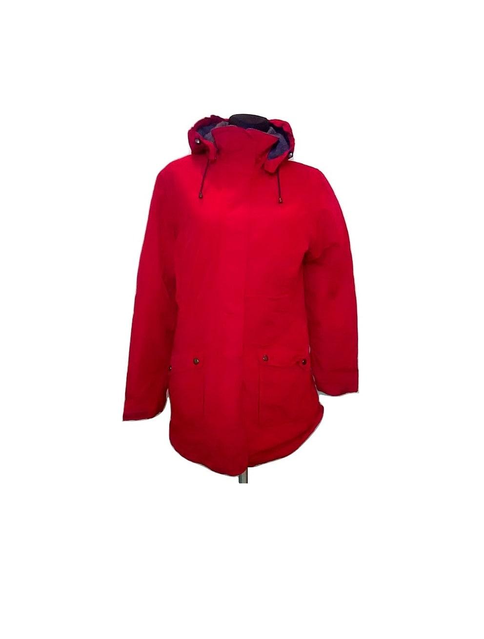 Raudona moteriška sportinė striukė, LANDS-END, M dydis
