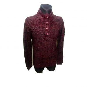 Bordinės spalvos vyriškas megztinis, CKH, M dydis