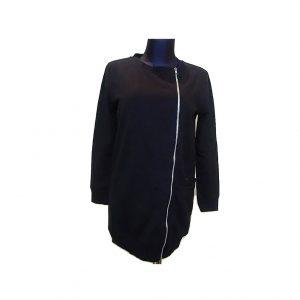 Juodas moteriškas ilgas džemperis su užtrauktuku