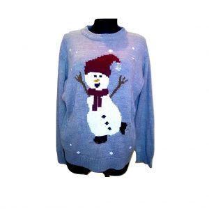 Kalėdinis pilkas megztinis su besmegeniu