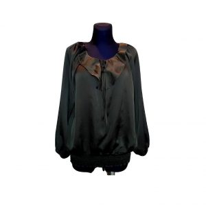 Moteriška juoda šilkinė palaidinė ilgomis rankovėmis, SAY, 38 dydis