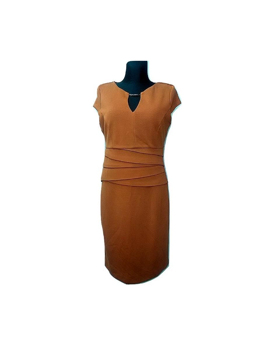 Moteriška šviesiai ruda ilga suknelė be rankoviu, ROMAN, 14 dydis