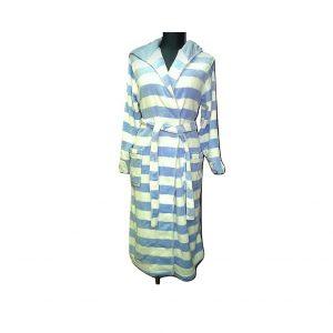 Moteriškas dryžuotas šviesiai mėlynas chalatas, M dydis