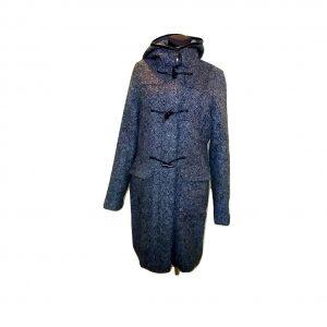 Moteriškas ilgas pilkas paltas su kapišonu, ETAGE, 40 dydis