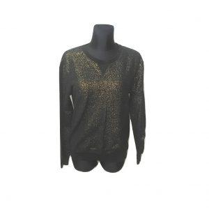 Moteriškas juodas blizgantis megztinis, 36 dydis