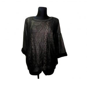Moteriškas juodas blizgantis megztinis, TU, 14 dydis