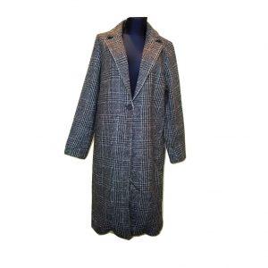 Moteriškas languotas pilkas paltas, ATMOSPHERE, 12 dydis