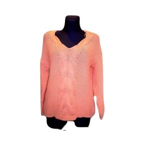 Moteriškas persikinis megztinis V iškirpte, 38 dydis