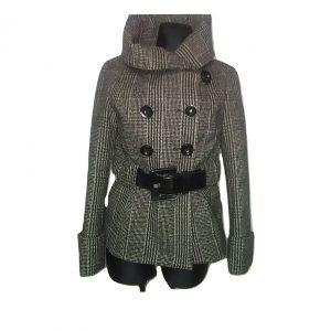 Moteriškas trumpas pilkas ZARA paltukas su diržu, M dydis