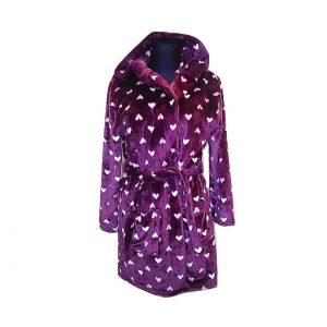 Moteriškas violetinis chalatas su širdelėmis, NEW LOOK, M dydis