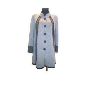 Stilingas smėlio spalvos pilkas paltas, L dydis