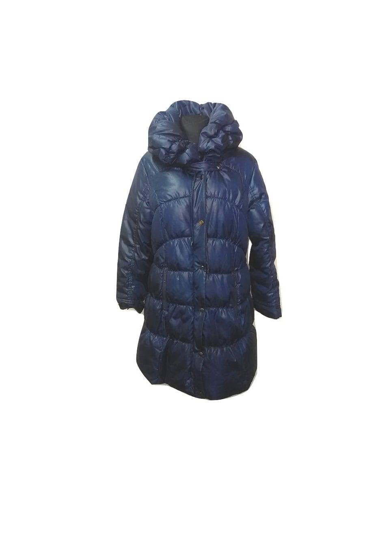 Tamsiai mėlynas pūstas ilgas paltukas, L dydis