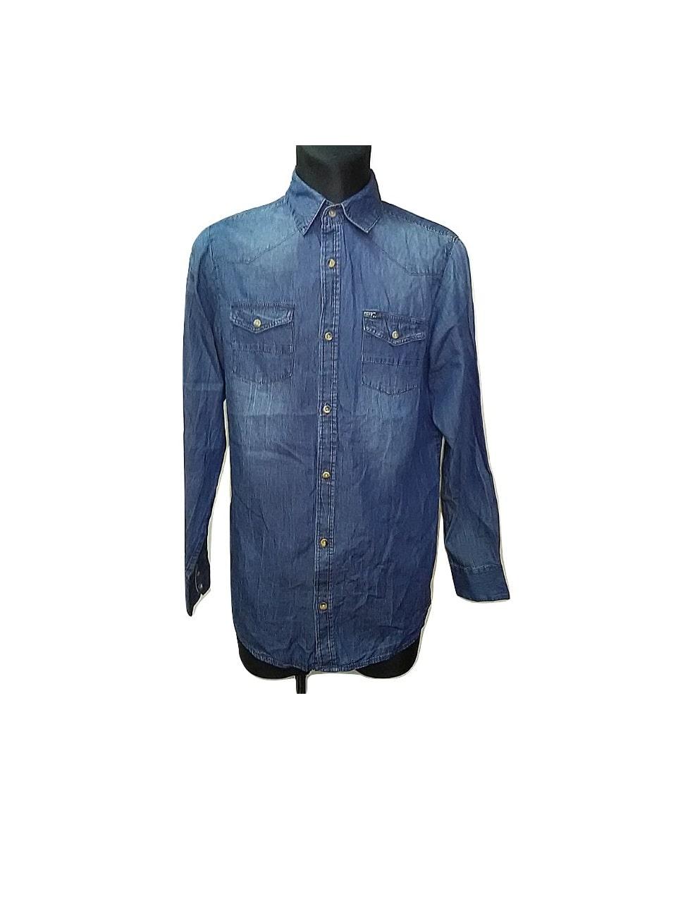 Vyriški džinsiniai mėlyni marškiniai, M dydis