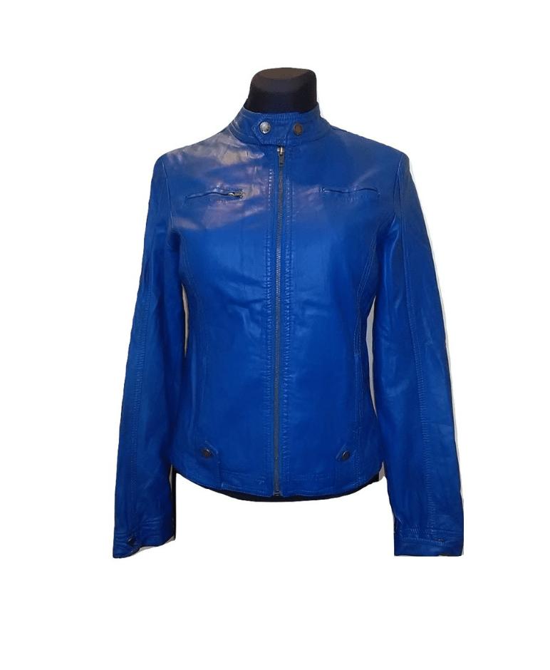 Mėlyna odinė moteriška striukė, JS, L dydis