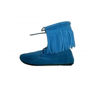 Mėlyni zomšiniai moteriški batukai, MINETONKA, 8 dydis