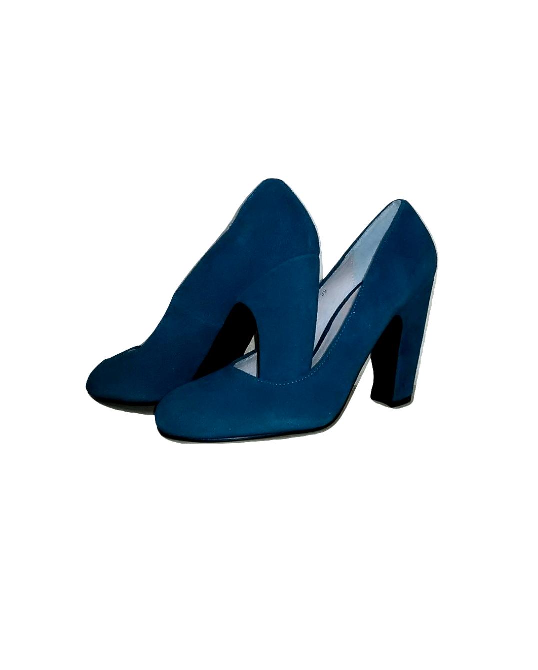 Mėlyni zomšiniai batai su kulnu, ELLOS, 39 dydis