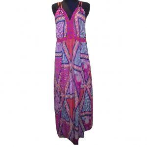 Ilga rožinė marga vasarinė suknelė, H&M, 42 dydis
