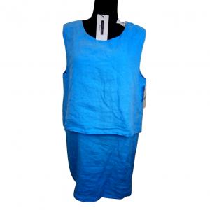 Nauja lininė švisiai melsva be rankovių suknelė LUNGO L'ARNO dydis 46