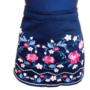 Juodas gėlėtas trumpas sijonas GEORGE, 40 dydis