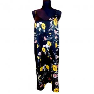 Juoda gėlėta suknelė su petnešėlėmis M&S, 46-dydis, 100% sintetika