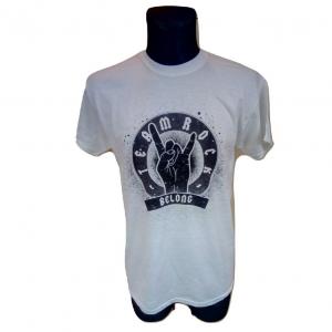Vyriški balti margi marškinėliai trumpomis rankovėmis, GILDAN, dydis M