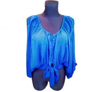 Mėlyna nuleistomis rankovėmis atvirais pečiais INTERNACIONALE, palaidinė, dydis 14