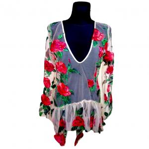 Šviesi gėlėta siuvinėta ilgomis rankovėmis suknelė I SAW IT FIRST, dydis 42