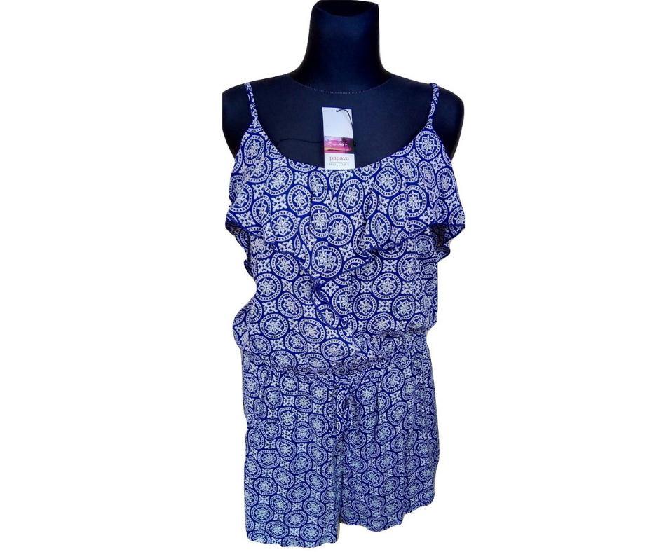 Mėlyna marga su petnešėlėmis suknelė – šortai PAPAYA, dydis 40