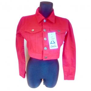 Moteriškas džinsinis raudonas trumpas švarkelis LASULA, dydis 10