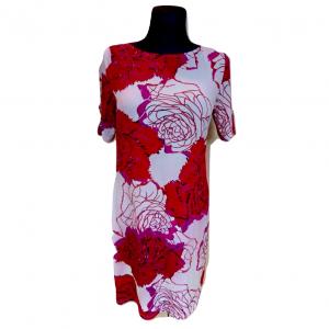 Raudona gėleta trumpomis rankovėmis suknelė M&S, dydis 38