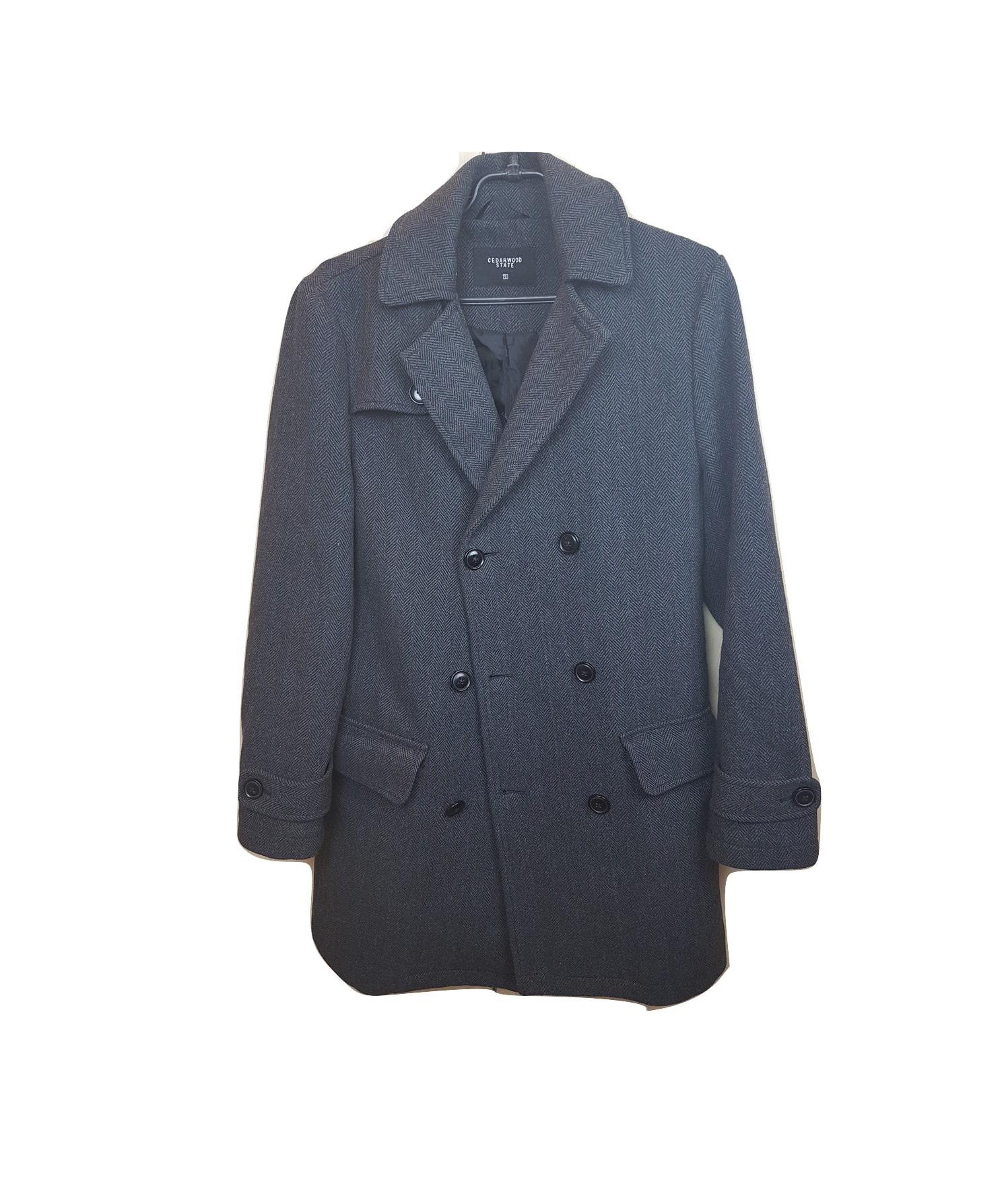 Vyriškas tamsus ilgas paltas, Cedarwood State, S dydis